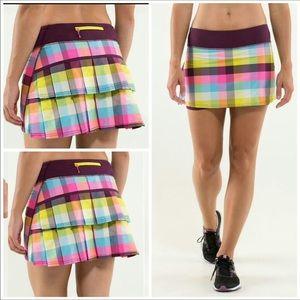Lululemon Sea Plaid Pace Setter Skirt Skort